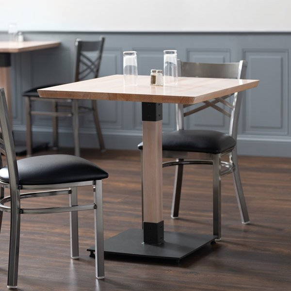 Lancaster Table Seating 30 Square Solid Wood Live Edge Dining Height With Antique White Wash Finish