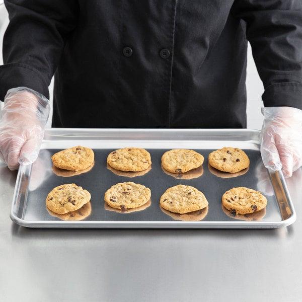"Bakers Mark Half Size 12 Gauge 13"" x 18"" Open Bead Rim Heavy Duty Aluminum Bun / Sheet Pan"