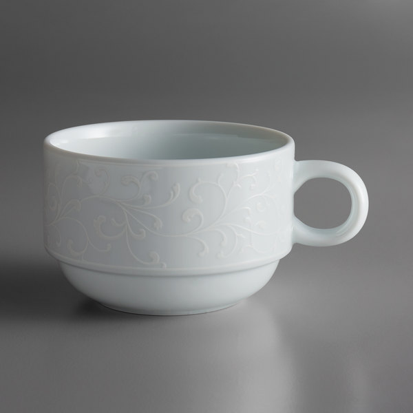 Oneida L5803050510 Ivy Flourish 6 oz. Stackable Bright White Porcelain Breakfast Cup - 24/Case