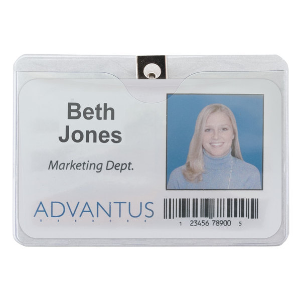 """Advantus 75456 Id Badge Holder With Clip Vinyl Clear 4/""""3/"""" 50 // Pack"""