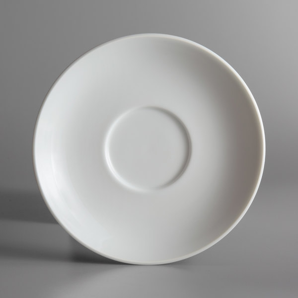 "Oneida L5803050500 Ivy Flourish 6 1/4"" Bright White Porcelain Saucer - 24/Case"