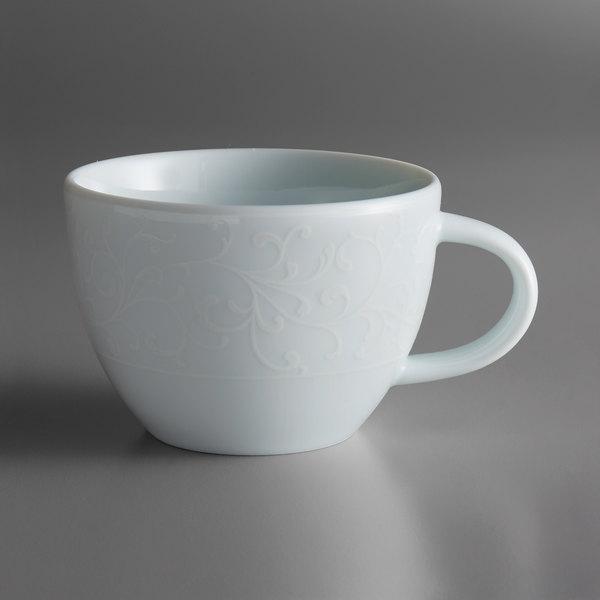 Oneida L5803050511 Ivy Flourish 6.75 oz. Bright White Porcelain Tea Cup - 24/Case