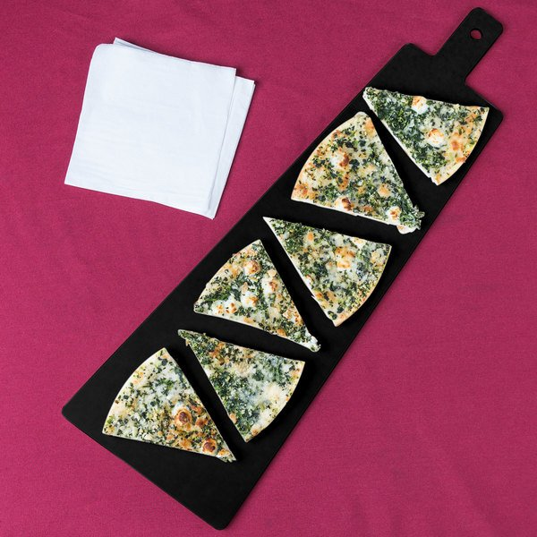 """Cal-Mil 1535-24-13 Black Trapezoid Flat Bread Serving / Display Board with Handle - 23 3/4"""" x 8"""" x 1/4"""" Main Image 8"""