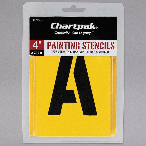 "Chartpak 01565 Manila 4"" A-Z/0-9 Painting Stencils - 35/Pack"