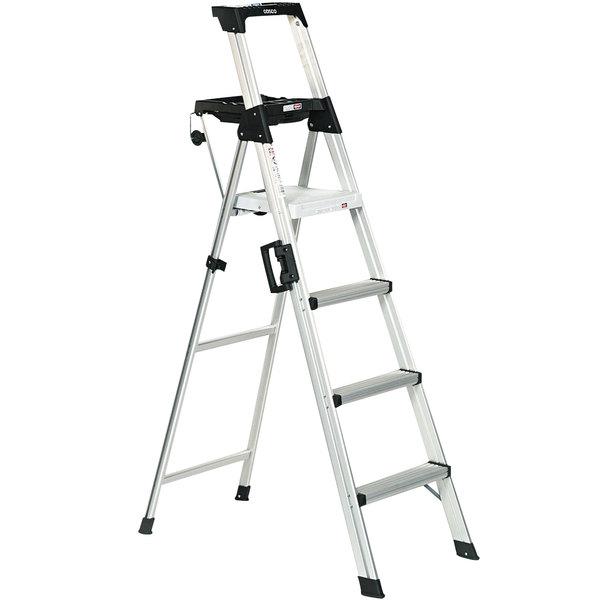 Cosco 2061AABLD Signature Series Aluminum 4-Step Folding Step Ladder with Work Platform Main Image 1