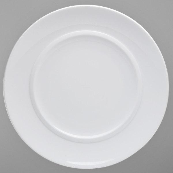 "Oneida R4840000167 Circa 12 7/16"" Bright White Porcelain Round Platter - 12/Case Main Image 1"
