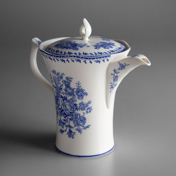 Oneida L6703061861 Lancaster Garden 26 Oz Blue Porcelain Tea Pot 12 Case