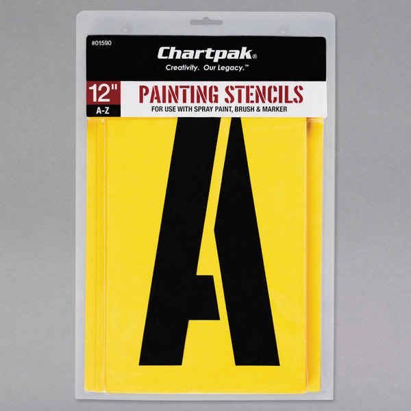 "Chartpak 01590 Manila 12"" A-Z Painting Stencils - 26/Pack"