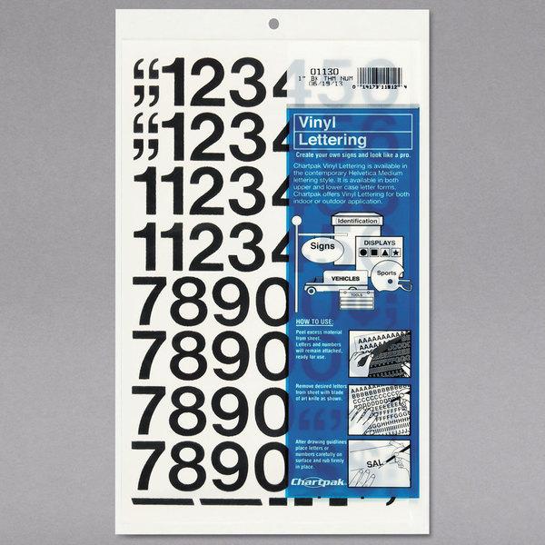 """Chartpak 01130 Black Adhesive 1"""" Vinyl Helvetica Numbers - 44/Pack"""