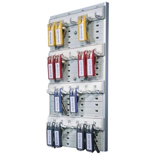 "Durable 195610 8 3/8"" x 14 1/8"" Gray Plastic 24-Tag Key Rack Main Image 1"