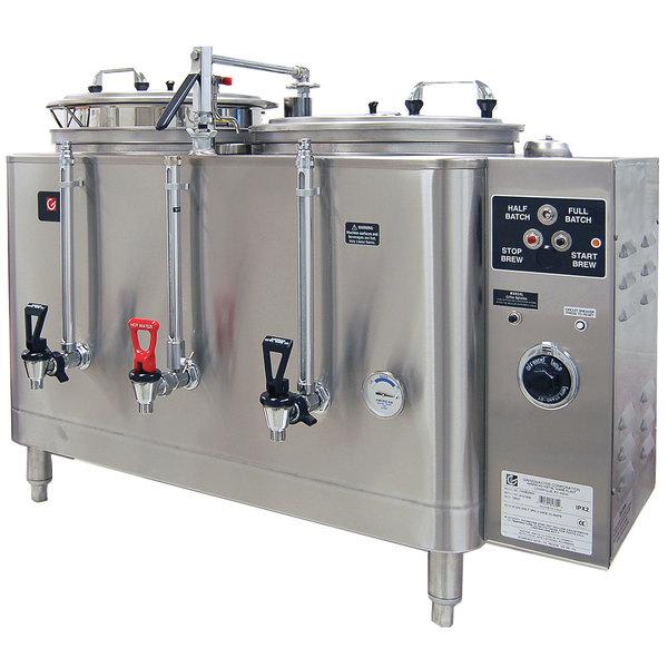 Grindmaster 74410E Twin Midline 10 Gallon Fresh Water Coffee Urn - 120/208/240V 1 Phase