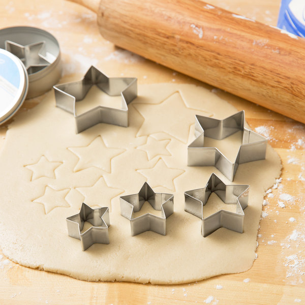 Ateco 7805 6-Piece Stainless Steel Plain Star Cutter Set