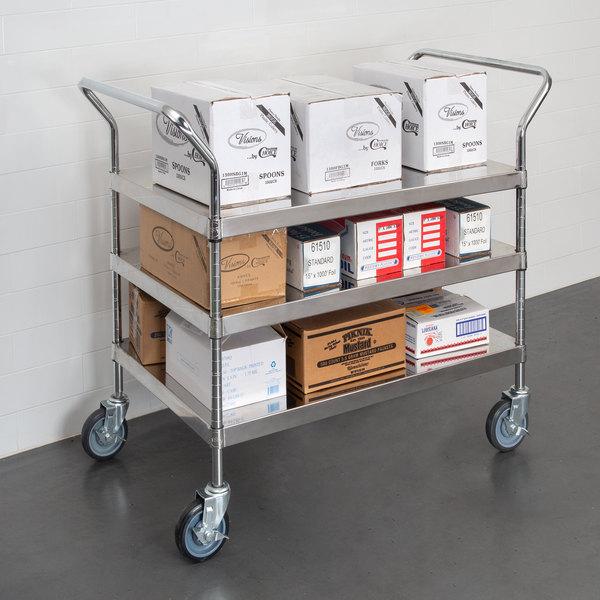 "Regency Stainless Steel Three Shelf Utility Cart - 36"" x 24"" x 37"" Main Image 2"