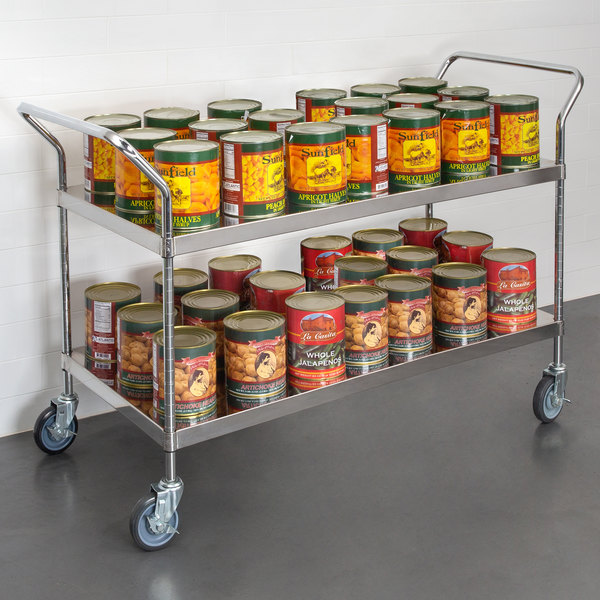 "Regency Stainless Steel Two Shelf Utility Cart - 48"" x 24"" x 37"" Main Image 2"