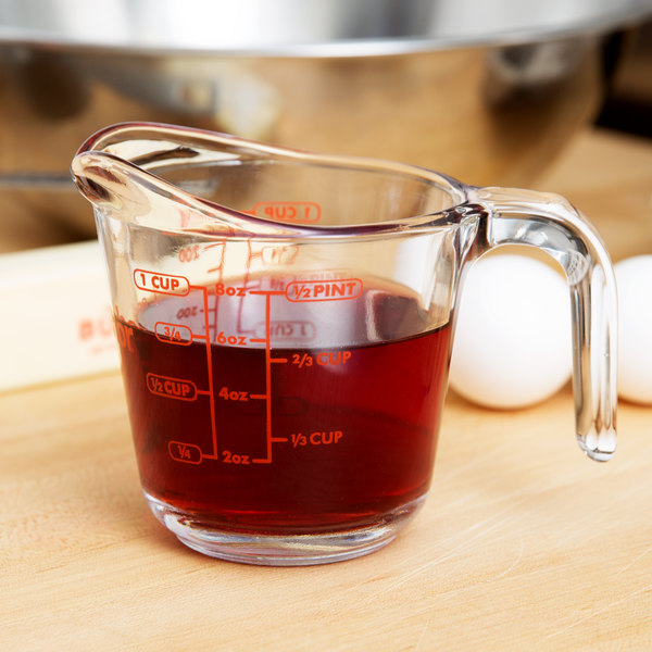 Anchor Hocking 55175AHG17 8 oz. (1 Cup) Glass Measuring Cup