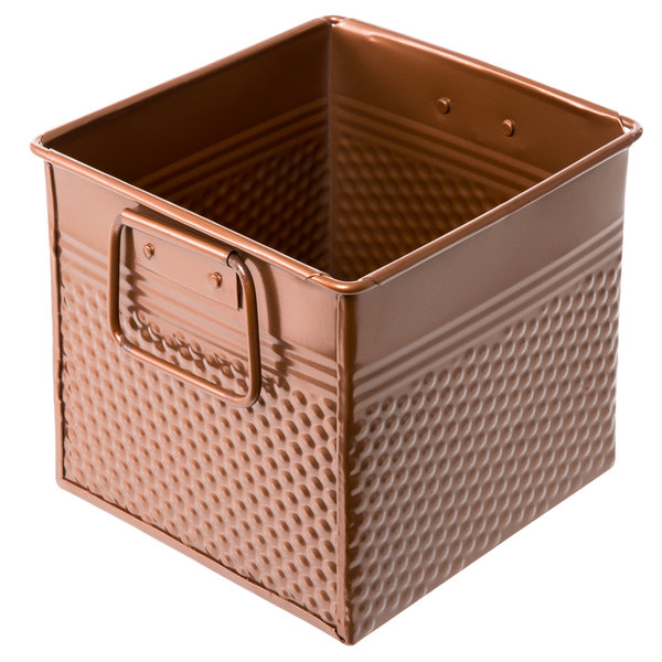 "American Metalcraft BEVC655 Hammered Copper Square Utensil Holder - 6 1/4"" x 5 3/4"" x 5 3/4"""