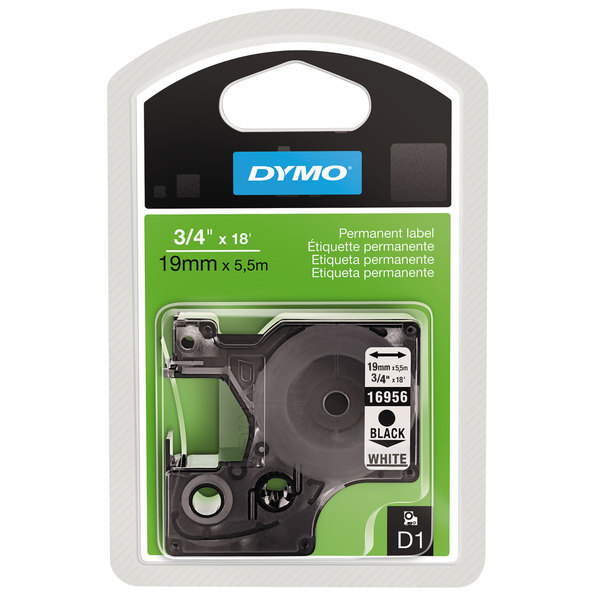"Dymo 16956 Permanent D1 Label Tape 3//4/""x18/' Black on White #9563"