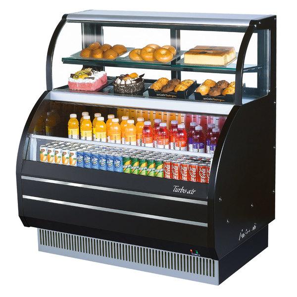 "Turbo Air TOM-W-50SB 50"" Black Slim Line Dual Service Refrigerated Open Display Merchandiser"