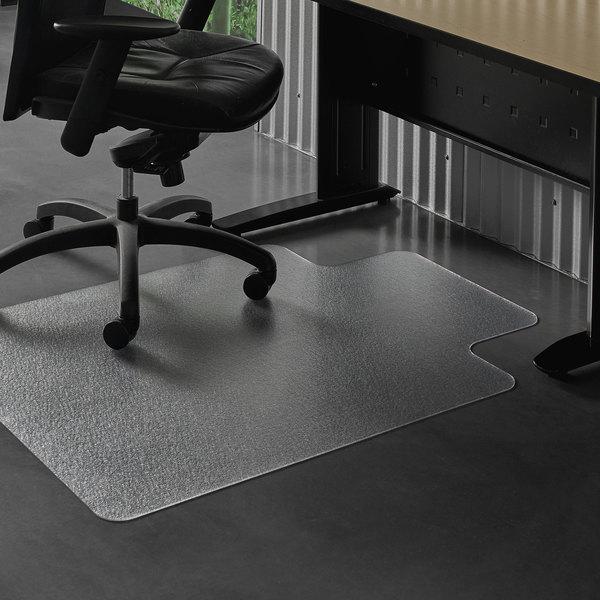 "ES Robbins 132033 EverLife 48"" x 36"" Clear Vinyl Lipped Straight Edge Heavy Use Hard Floor Chair Mat"