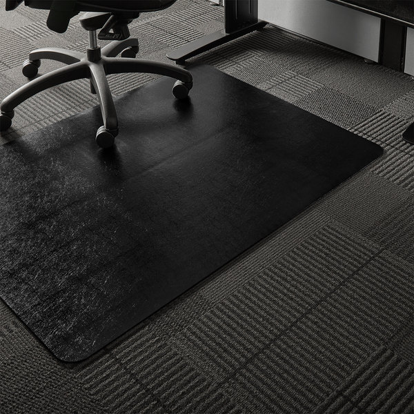 Es Robbins 128013 Trendsetter 48 X 36 Black Vinyl Rectangle Straight Edge Low Pile Carpet Chair Mat With Anchorbar Backing