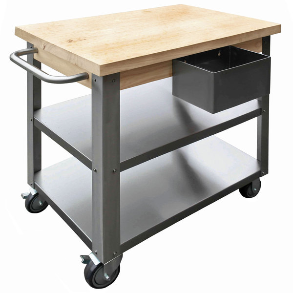 Maple Wood Top Work Table with Stainless Steel Base and Undershelves - 32\