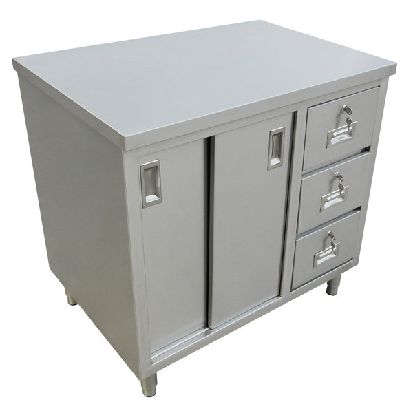 """Stainless Steel Tall Kitchen Cabinet: 30"""" X 48"""" Stainless Steel Worktable With Cabinet And Drawers"""