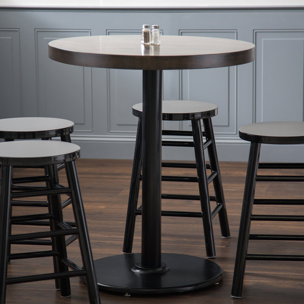 """Lancaster Table & Seating 30"""" Black 3"""" Counter Height Round Column Table Base Main Image 6"""