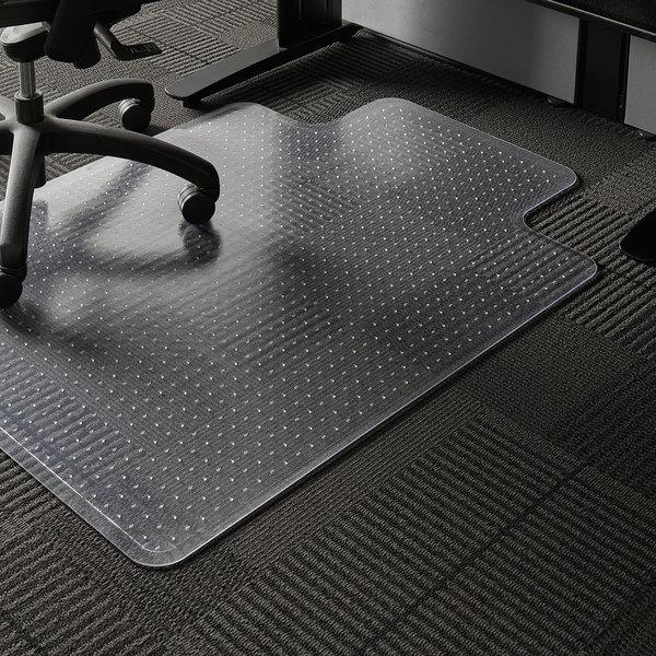 "ES Robbins 122083 EverLife 48"" x 36"" Clear Vinyl Lipped Crystal Edge Medium Pile Carpet Chair Mat with AnchorBar Backing"