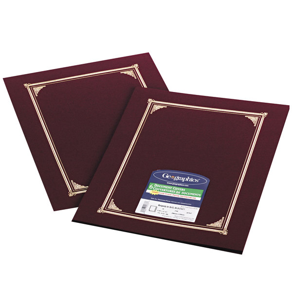 """Geographics 45333 9 3/4"""" x 12 1/2"""" Burgundy Document Cover - 6/Pack Main Image 1"""