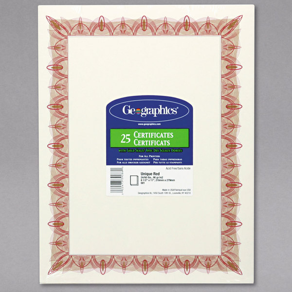 """Geographics 39086 8 1/2"""" x 11"""" Pack of 24# Parchment Certificate Paper with Gold Seal and Red Border - 25 Sheets"""