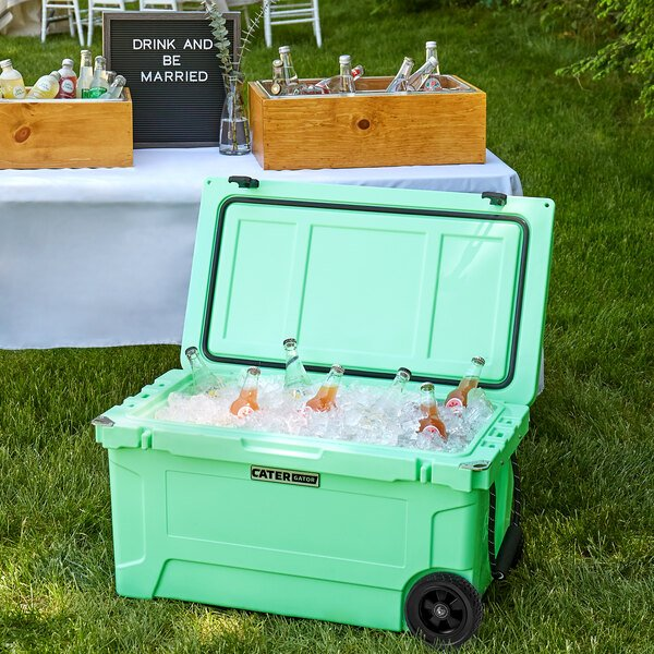 CaterGator CG65SFW Seafoam 65 Qt. Mobile Rotomolded Extreme Outdoor Cooler / Ice Chest Main Image 4