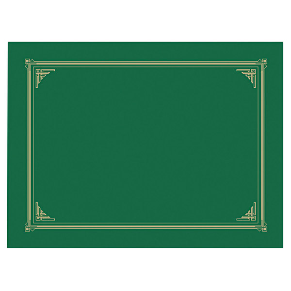 """Geographics 47399 12 1/2"""" x 9 3/4"""" Green Classic Linen Certificate / Document Cover - 6/Pack Main Image 1"""