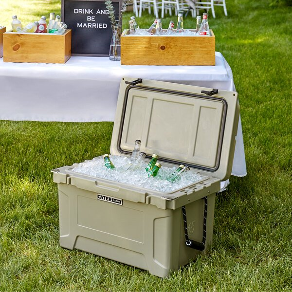 CaterGator CG45TAN Tan 45 Qt. Rotomolded Extreme Outdoor Cooler / Ice Chest Main Image 4