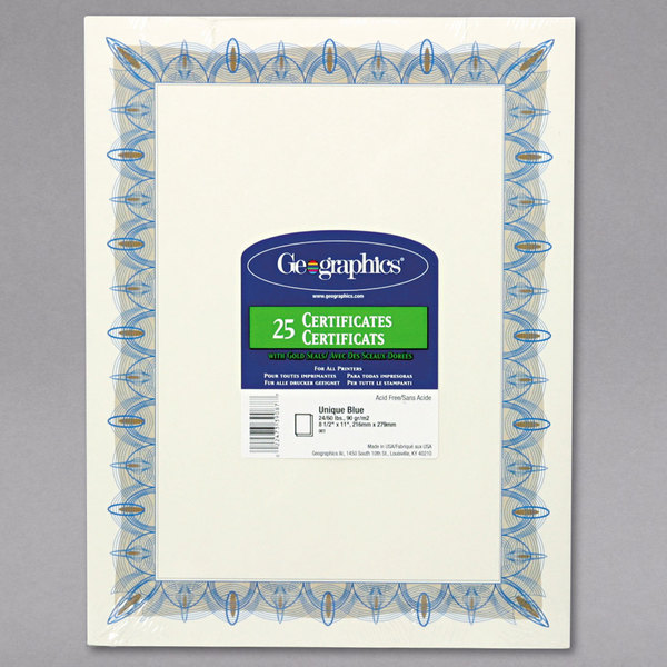 """Geographics 39087 8 1/2"""" x 11"""" Pack of 24# Parchment Certificate Paper with Gold Seal and Blue Border - 25 Sheets"""