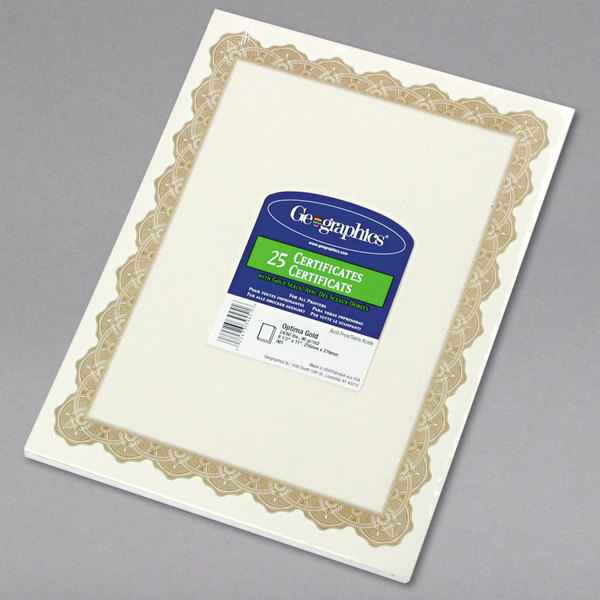 geographics 39451 8 1 2 x 11 white pack of 24 certificate paper