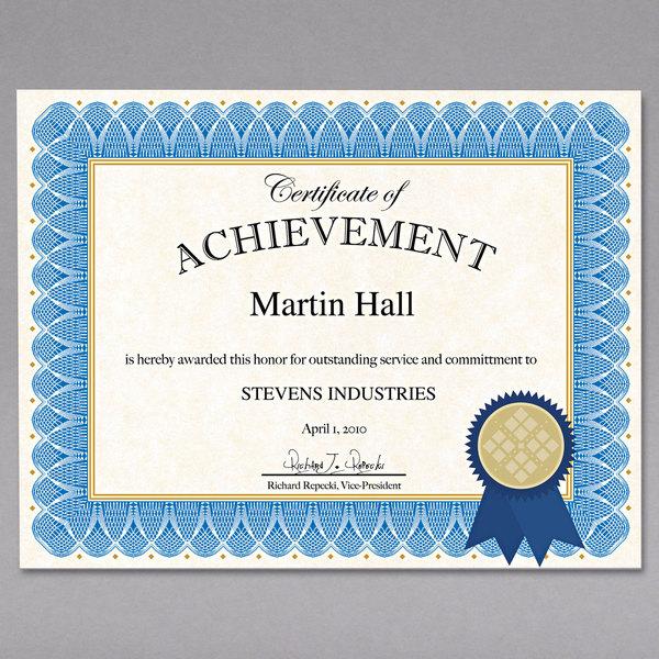 "Geographics 47404 8 1/2"" x 11"" Blue Spiral Award Certificate Kit"