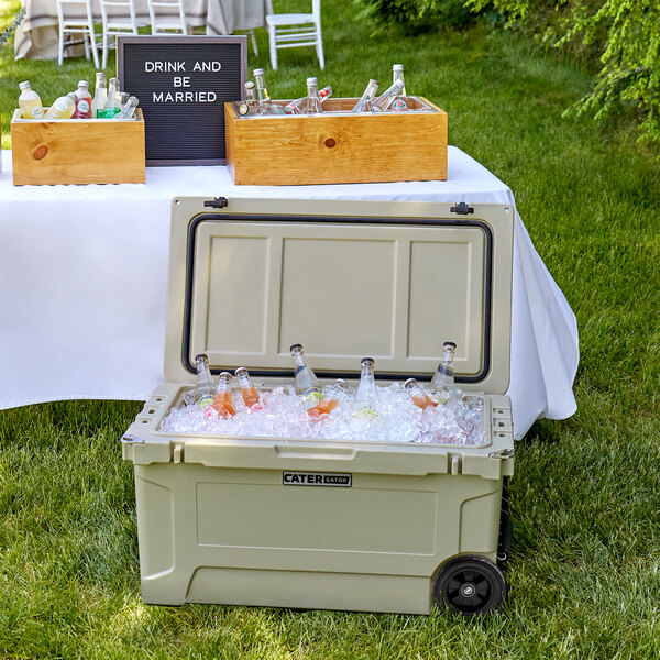 CaterGator CG65TANW Tan 65 Qt. Mobile Rotomolded Extreme Outdoor Cooler / Ice Chest Main Image 4