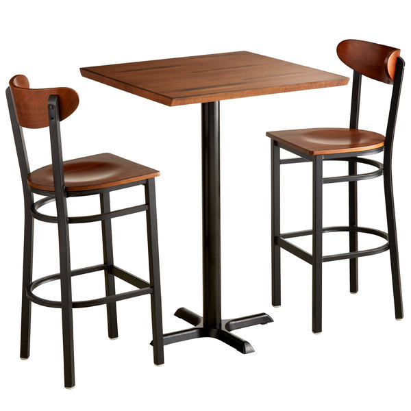 Awesome Lancaster Table Seating 30 Square Antique Walnut Solid Wood Live Edge Bar Height Table With 2 Boomerang Chairs Pabps2019 Chair Design Images Pabps2019Com