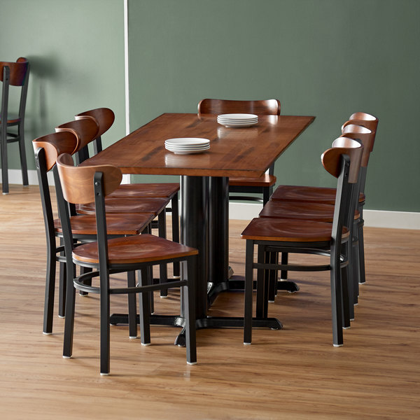 """Lancaster Table & Seating 30"""" x 72"""" Antique Walnut Solid Wood Live Edge Dining Height Table with 8 Boomerang Chairs Main Image 3"""