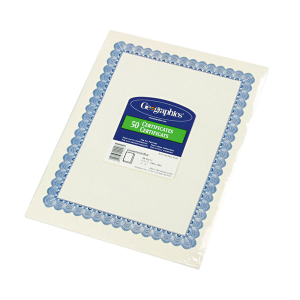 """Geographics 20008 8 1/2"""" x 11"""" White Pack of 24# Certificate Paper with Blue Border - 50 Sheets"""