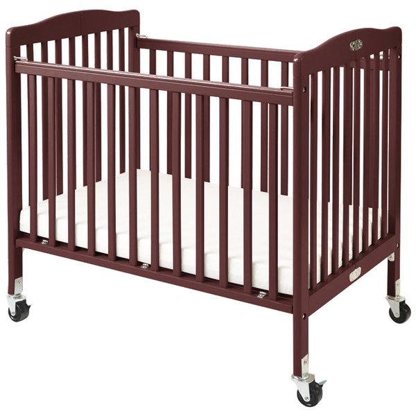 "L.A. Baby CW-883A The Little Wood Crib 24"" x 38"" Cherry Mini / Portable Folding Wood Crib with 3"" Vinyl Covered Mattress"