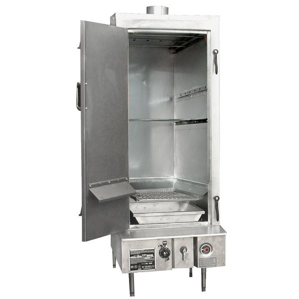 "Town SM-24-L-SS Natural Gas Indoor 24"" Stainless Steel Smokehouse with Left Door Hinges - 45,000 BTU"