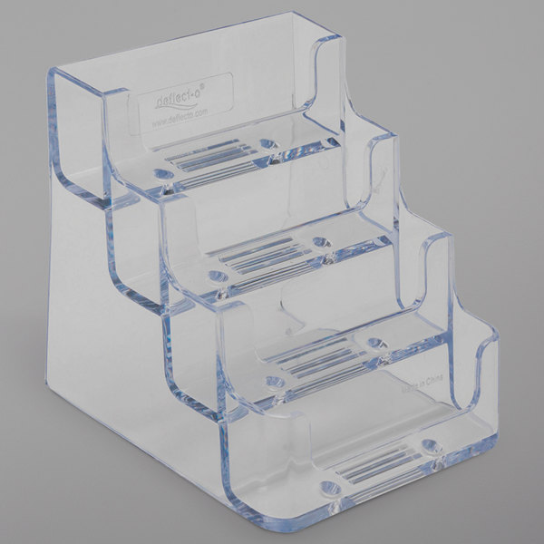 """Deflecto 70841 3 15/16"""" x 3 1/2"""" x 3 3/4"""" Clear Plastic 4-Pocket Business Card Holder"""