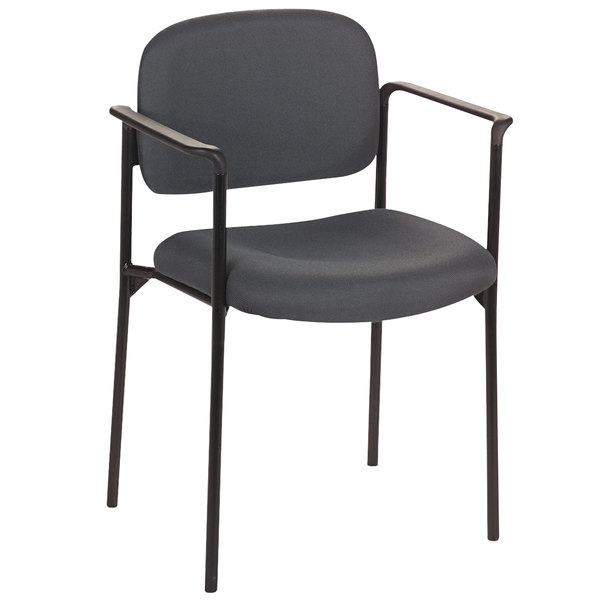HON VL616VA19 Basyx VL616 Series Stackable Charcoal Fabric Guest Chair Main Image 1