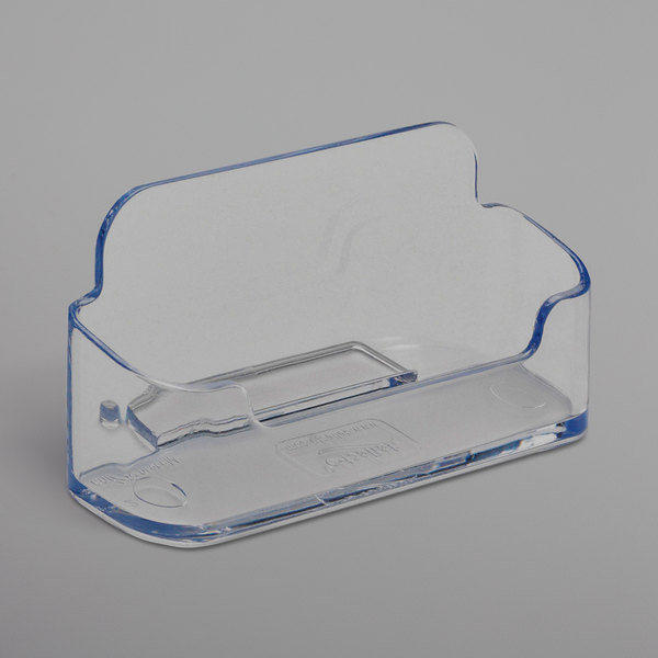 "Deflecto 70101 3 7/8"" x 1 3/8"" x 1 13/16"" Clear Plastic Horizontal Business Card Holder Main Image 1"