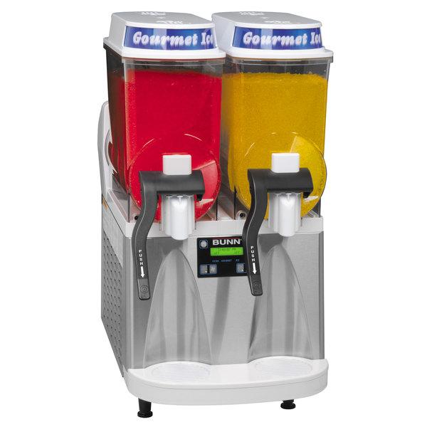 Bunn 34000.0571 Ultra-2 HP High Performance White and Stainless Steel Double 3 Gallon Pourover Slushy / Granita Frozen Drink Machine - 120V