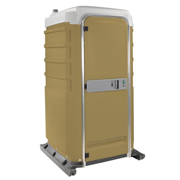 PolyJohn FS3-3006 Fleet Tan Premium Portable Restroom with Freshwater Flush Tank - Assembled