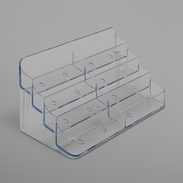 "Deflecto 70801 7 7/8"" x 3 1/2"" x 3 3/8"" Clear Plastic 8-Pocket Business Card Holder Main Image 1"