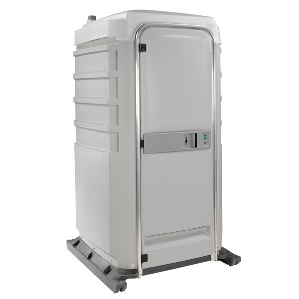 PolyJohn FS3-2007 Fleet Light Gray Premium Portable Restroom with Recirculating Flush Tank - Assembled