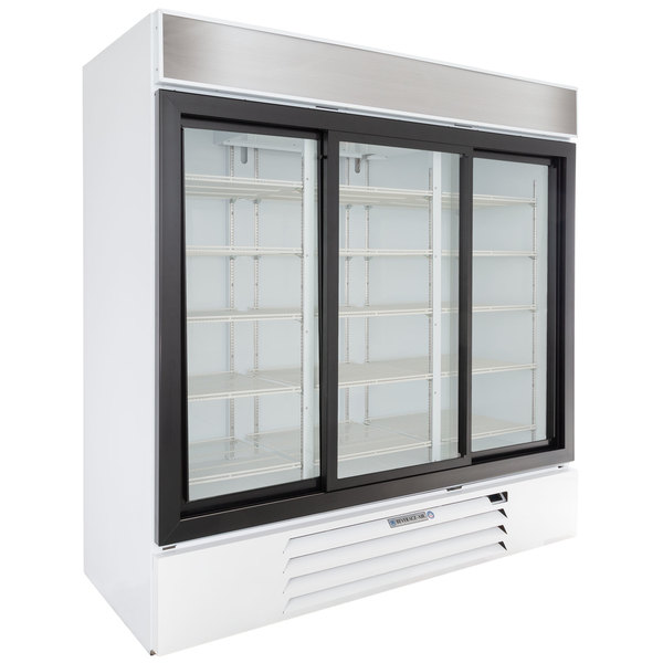 "Beverage-Air MMR66HC-1-W MarketMax 75"" White Refrigerated Sliding Glass Door Merchandiser with LED Lighting Main Image 1"